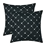 CaliTime Pack of 2 Cushion Covers Throw Pillow Cases Shells Sofa Couch Home Decoration 18 X 18 inches Modern Diamonds Shape Geometric Chain Embroidered Black