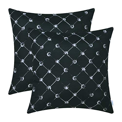 CaliTime Pack of 2 Cushion Covers Throw Pillow Cases Shells Sofa Couch Home Decoration 18 X 18 inches Modern Diamonds Shape Geometric Chain Embroidered Black by CaliTime