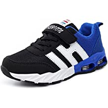 LANSHULAN Boy's Girl's Mesh Athletic Shoes Casual Velcro Strap Running Sneakers