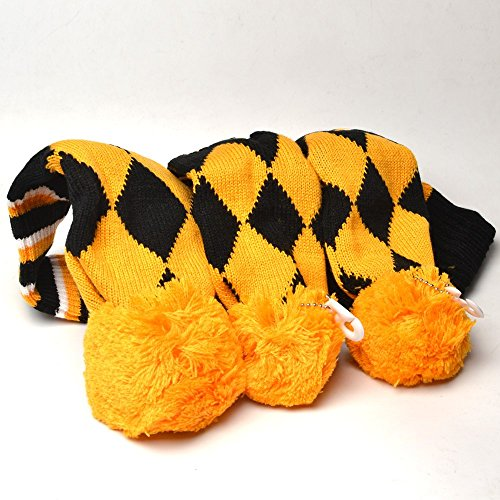 COOLSKY Golf Club Knit 3pcs Headcover Set Vintange Pom Pom Sock Covers 1-3-5 Yellow and Black