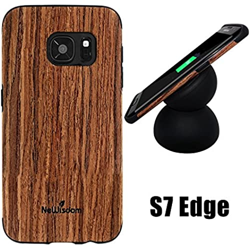 Galaxy s7 Edge Wood Case, NeWisdom Special Designed Rubberized Wood Hybrid Case for Samsung galaxy s 7 edge[No need to be removed while wireless Sales