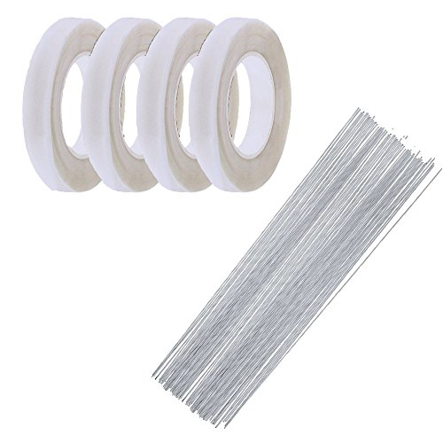 4 Rolls Floriculture Paper Tape,Floral Tape for Stem Wrap Flower Tape with 80 Pieces 14 Inch Floral Stem Wire (White)