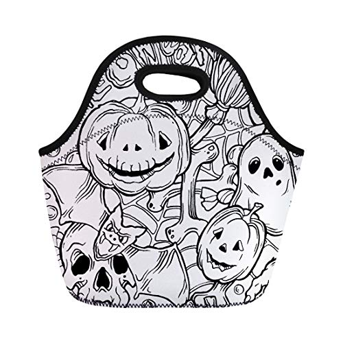 Semtomn Lunch Tote Bag Coloring Halloween Pattern Ghost