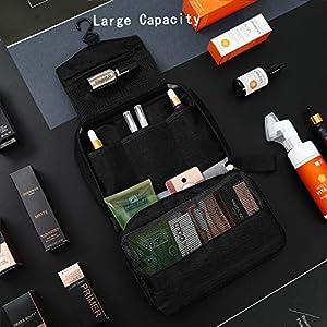 Mens Toiletry Bag Hanging Travel Shaving Dopp Kit Waterproof Organizer Bag Perfect Travel Accessory Gift (Black)