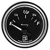 Equus 7362 2'' Fuel Level Gauge, Chrome with Black Dial