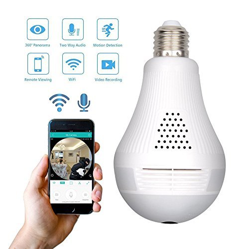 Cheap Wifi Security Lingt Bulb Camera 1080P VR Panoramic 360 Degree Fisheye Lens Wireless IP Hidden Camera Remote IndoorHome Office Baby Room Pet Monitoring Motion DetectionAlarmby Sorobright