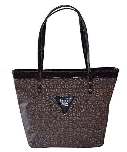 GUESS Signature Tansy Tote Shoulder Hand Bag (Brown/ Natural)