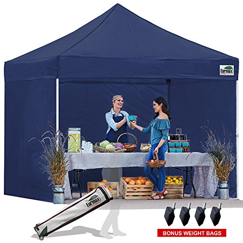 Eurmax 10×10 Ez Pop Up Canopy Outdoor Canopy Instant Tent with 4 zipper Sidewalls and Roller Bag,Bouns 4 weight bags, Navy Blue For Sale