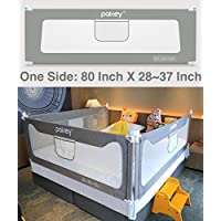 Goldenvalueable Vertical Collapsible Bed Rail Guard for Baby Toddlers and Kids (Grey) (One Side) (80 inch, Grey)