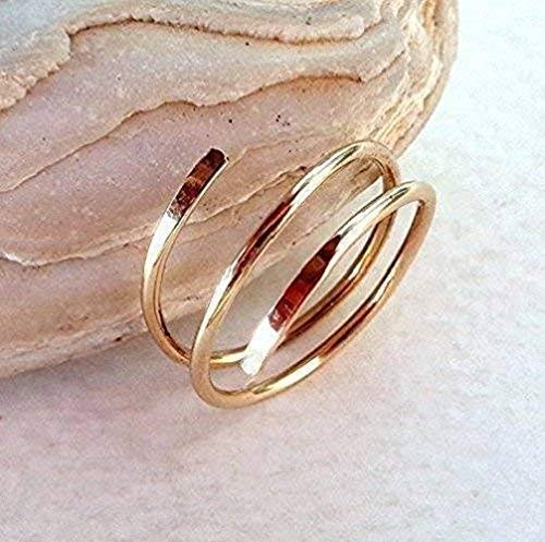 14K Solid Gold Midi-Knuckle Swirl Ring