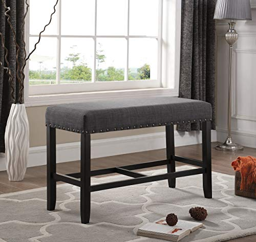 Roundhill Furniture PB162GY Biony Fabric Counter Height Dining Bench with Nailhead Trim, Grey (Pub Dining Room Table Sonoma)
