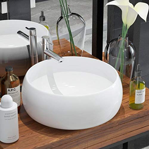 (Festnight Basin Round Ceramic Bathroom Vessel Sink Above Counter Wash Sink for Lavatory Hotel Washroom Home Furniture White 15.7