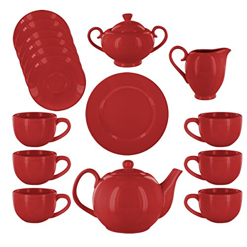 Margaux Deluxe Porcelain Tea Set - Red ()