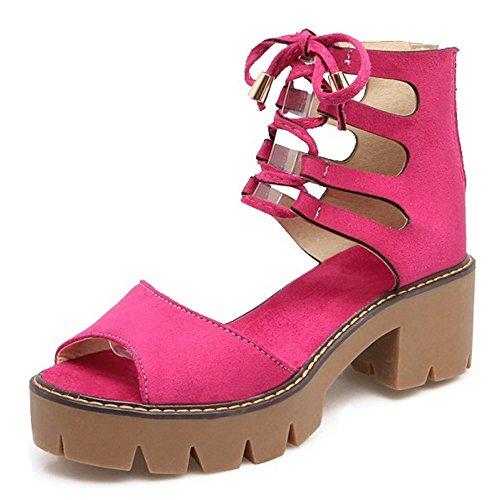 COOLCEPT Mujer Moda Cordones Sandalias Hueco Peep Toe Tacon Ancho Plataforma Zapatos Cremallera Rosa Rojo