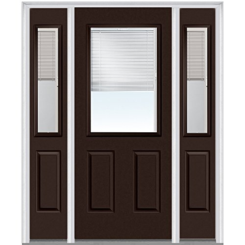 National Door Company Z010166R Steel Polished Mahogany, Right Hand In-swing, Prehung Door, 1/2 Lite 2-Panel, Clear Glass with RLB, 36'' x 80'' with 14'' Sidelites by National Door Company
