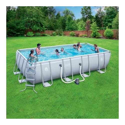 Coleman 18'x9'x48 Power Steel Rectangular Frame AboveGround Swimming Pool