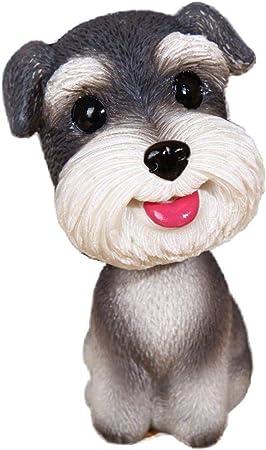 Resin Car Ornaments Nodding Schnauzer Sitting Shakes Head Dog Decorations