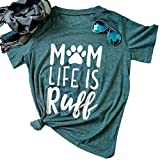 FAYALEQ Mom Life is Ruff Funny T Shirt Womens Casual Letters Short Sleeve Tops Blouse Size S (Green)