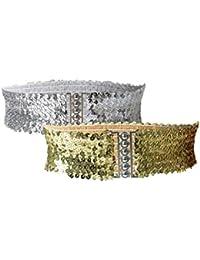 Ladies Sequins Decor Metal Interlocking Buckles Elastic Waist Belt