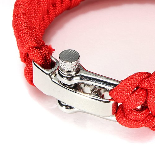 7 fili. Bracciale regolabile in corda intrecciata fibbia in acciaio