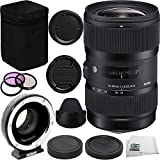 Sigma 18-35mm f/1.8 DC HSM Art Lens for Canon Bundle Includes Metabones Canon EF to Micro Four Thirds Speed Booster MB_SPEF-M43-BT3 + 3PC Filter Kit (UV-CPL-FLD) + Cleaning Cloth