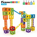 PicassoTiles PTR45 Roller Coaster Steam 45 Pcs 3D Creativity Magnet Building Block, Construction Educational Track Building Block Set w/ 5 Different Shapes and Idea Book