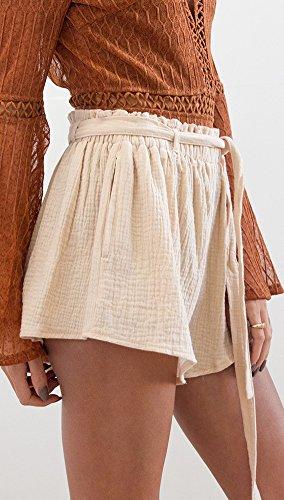 Outdoor Unita In Vita Pantaloncini Elastico Corti Pantaloni Tinta Moda Casual Mare Estivi Shorts Giovane Elegante Giallo Larghi Ragazze Comode Donna qwpwX6v