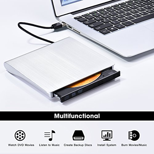 VicTsing USB 3.0 Ultra-Slim External CD Drive & DVD Drive, Portable External CD-RW Drive DVD-R Combo Burner Player Writer for Laptop Notebook PC Desktop Computer, Silver by VicTsing (Image #5)
