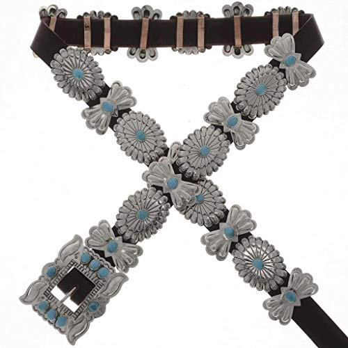 Turquoise Silver Concho Belt Hammered Navajo Pattern 0310