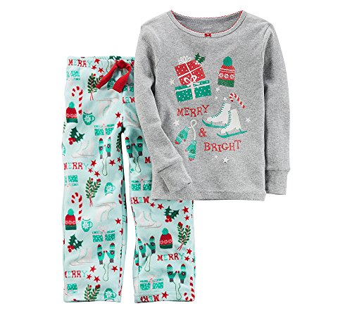 Carter's Girls' 12M-12 2 Piece Christmas Iceskates Fleece Pajamas Gray 5