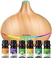 Homasy 500ml Aroma Diffuser mit 6 * 10ml Ätherische Öle Set, 23dB Ultra Leise Aroma Diffuser Luftbefeuchter mit...