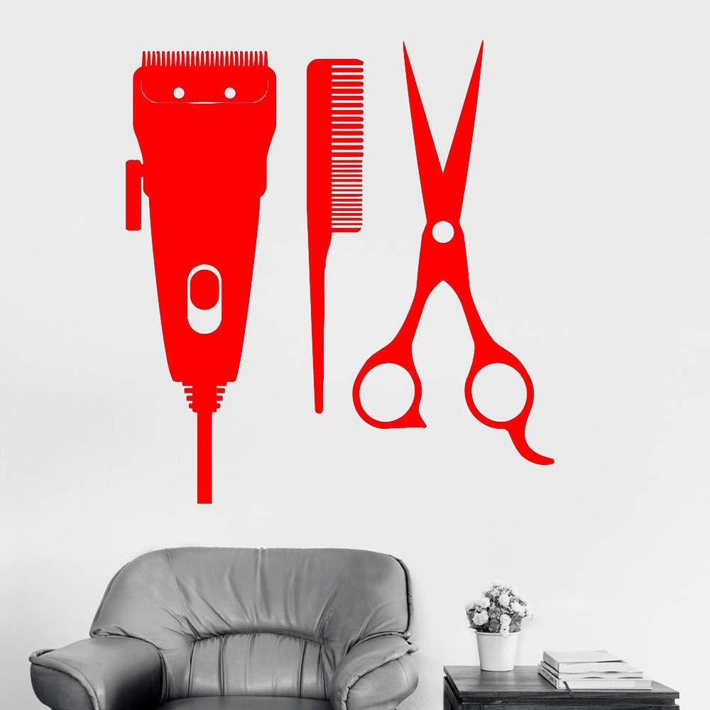 zhuziji Barbershop Sign Vinyl Wall Decal Barber Tools Hair ...