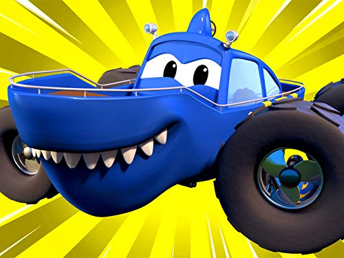 Marty the Monster Shark & Moe the Monster Tow Truck are Racing -