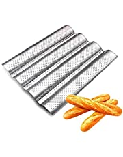 French Bread Baking Pan Loaves Loaf Bake Mold Perforated Baguette Pans for French Bread Baking 4 Wave Cooking Bread Molding
