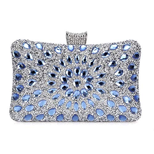 Bolso de Mujer,Bolso de Noche Hombro Billetera Embrague con Cadena Bolso de Hard Shell Clutches del Banquete Fiesta Boda-Azul
