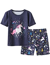 Big Girls' Summer Pajama Sets Cute Horse Sleepwears Cartoon Children PJS