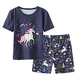 MyFav Big Girls' Summer Pajama Sets Cute Patterns Sleepwears Cartoon Children PJS Navy
