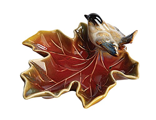 Creative Co-Op Small Maple Leaf Dish with Bird (Dish Small Leaf)