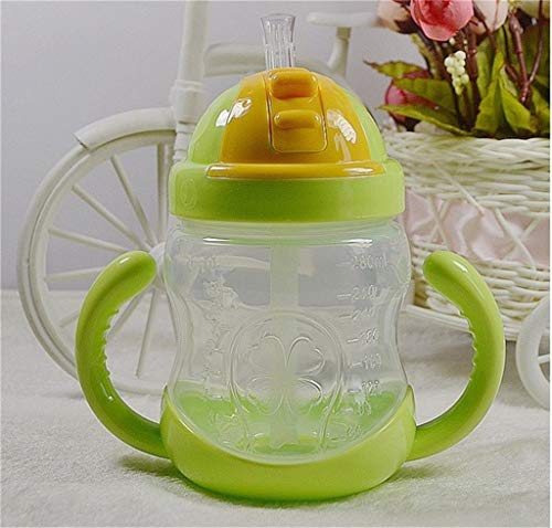Vacally Baby Kids Straw Cup Children Suction Cup with Handle Leak-Proof Cups 280 ml Baby Learn Drink Cup