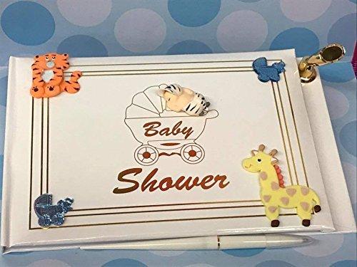 Baby Shower Guest Book Safari Jungle Animals Baby Boy Signature
