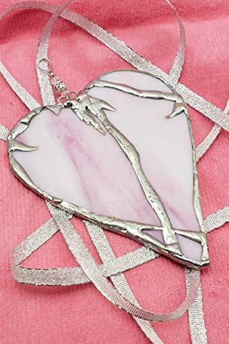 Valentine Suncatcher - Handmade Stained Glass Pink Beaded Heart Valentine Suncatcher Ornament Gift
