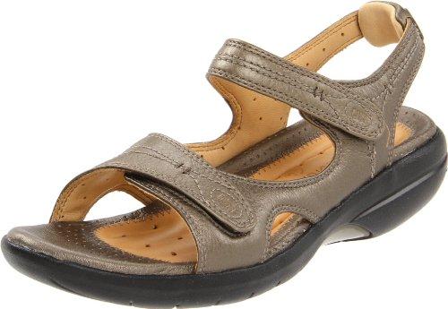 Clarks Womens Hatch Backstrap Sandal Pewter Leather