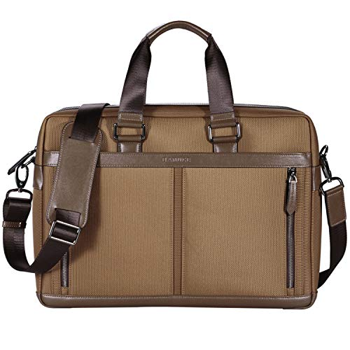 BANUCE 15 Inch Laptop Shoulder Bag Waterproof Nylon Messenger Bag Faux Leather Briefcase for Men Women Business Tote Brown ()