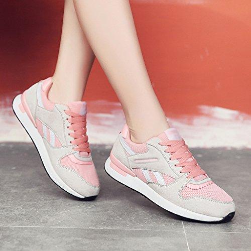 HWF Chaussures femme Sports Femme Printemps Chaussures De Course Mesh Respirant Plat Chaussures Décontractées Chaussures Pour Femmes ( Couleur : Gris , taille : 38 ) Beige Pink
