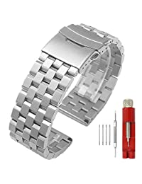 Premium Metal Watch Band Brushed Watch Belt Stainless Steel Watch Strap Deployment Clasp for Men Women 20mm Silver