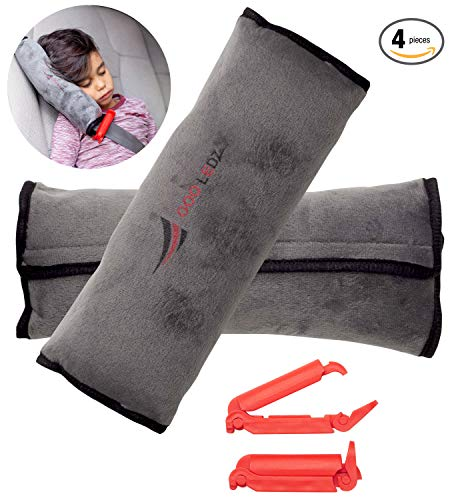 Seatbelt Pillow: 2-Piece Soft Plush Car Seat Belt Cover + 2 Red Seatbelt Clips Set| Safety Belt Protector Pad for Kids|Washable Seatbelt Headrest for Shoulder & Neck Support| Top Gifting Idea