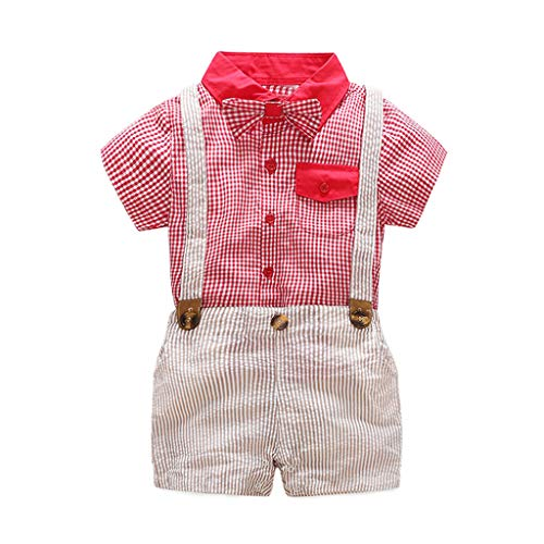 Pants Bib Shirt (Sagton Infant Short Sleeve Shirt+Bib Pants+Bow Tie Overalls Clothes Set Red)