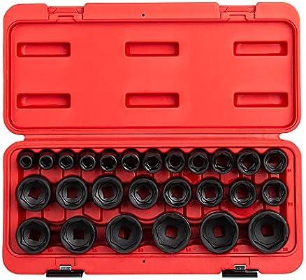 JH Williams 31936 14-Piece 3//8-Inch Drive Metric Deep 12 Point Socket Set