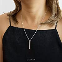 Personalized Engraved Vertical Bar Necklace 30x4 Millimeter