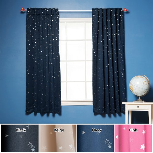(Best Home Fashion Star Print Thermal Insulated Blackout Curtains - Back Tab/ Rod Pocket - Navy - 52